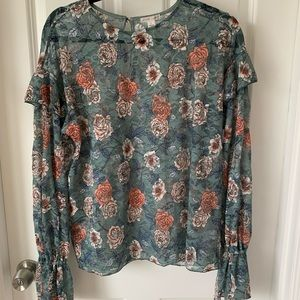 Meleose and market green floral lace top Small